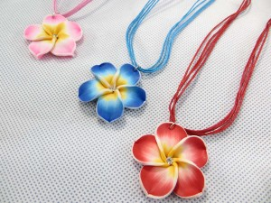 Handcrafted fimo polymer clay plumeria flower pendant necklace