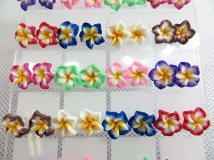 Handcrafted fimo polymer clay plumeria flower studs earring