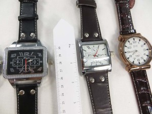 Large face faux leather band watch
