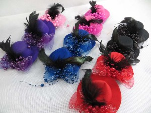 Plain colors fancy mini top hat hair clip