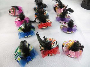 Strip colors fancy mini top hat hair clip