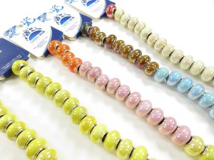 Mixed color glazed porcelain bead with luster AB finish