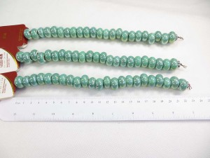 Green color glazed porcelain bead with luster AB finish