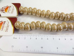 Earth color glazed porcelain bead with luster AB finish