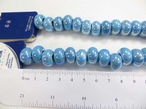 Blue color glazed porcelain bead with luster AB finish