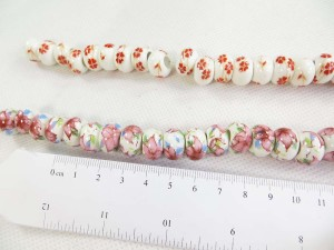 Handpainted mixed design porcelain ceramic beads
