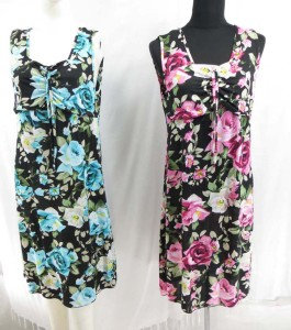 Floral design sundresses with wide shoulder strape.