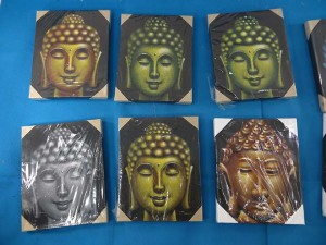 Buddha heads abstract design airbrush painting on canvas