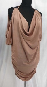 Cut out shoulder cowl dress