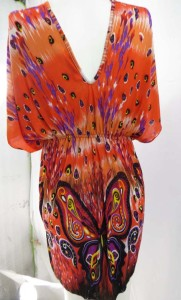 top mini dresses in colorful butterfly design
