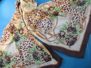 Animal print and vintage link chain chiffon scarves