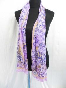 Classic plaid check grid and animal skin chiffon scarves