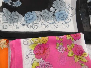 Rose flowers chiffon scarves