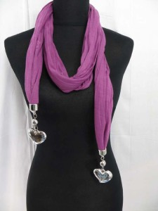 Double heart pendant scarves charm jewelry necklaces