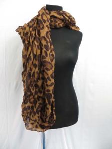 Animal Skin Leopard Print Crinkle Scarf Wrap Shawl
