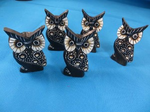Mini wooden painted owl set