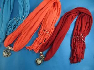 Heart charm pendant necklace scarves