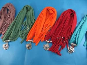 Rose pendant necklace scarves