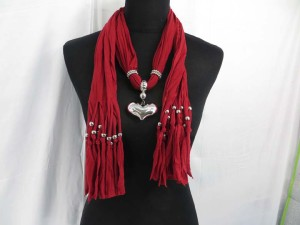 silver puffy heart pendant charm scarf necklace