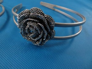 silver tone light weight plastic headband hair band with rose decor