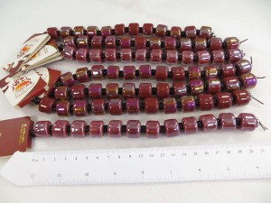 dark red colr large glazed porcelain bead with luster AB finish