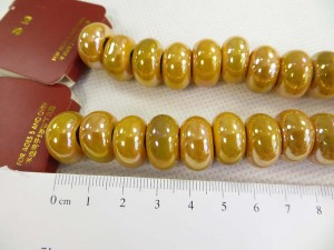 Yellow color glazed porcelain bead with luster AB finish