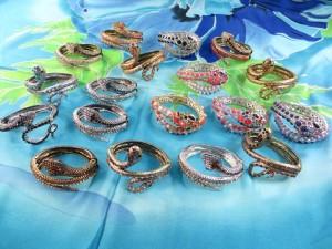 Rhinestone snake jewelry bangles