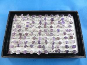 genuine purple amethyst semi-precious stone rings