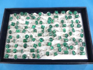 green malachite semi-precious stone rings