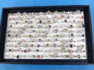 assorted color cubic zirconia fashion rings