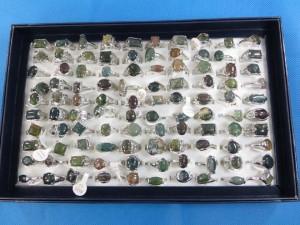 mixed colors jasper natural stone fashion rings