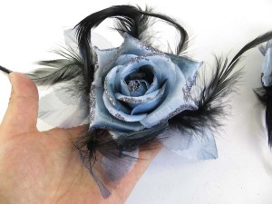Bluish grey color rose flower corsage with glitter edging and feather