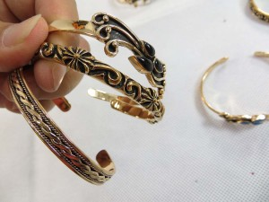 Solid bronze bangle cuffs in assorted designs
