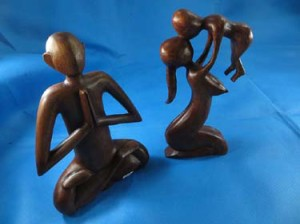 large size abstract woodcarvings meditation yogi and mom holding baby