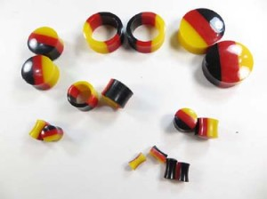 Black red yellow acrylic ear plugs flesh tunnels expanders stretchers