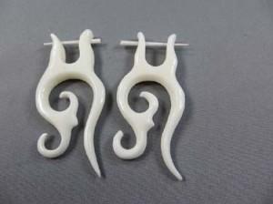 Piercing Bone Earring Handmade Pin Earrings In Tribal Design. Fits regular pierced ears.