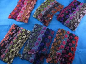Beautiful floral design winter muffler knitted scarves, ruffle bumpy bubble shawls. Double layers, 3D, textured, reversible, chunky, soft, thick, warm and cozy fringed scarves and wraps