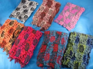 Flower and dots design winter muffler knitted scarves, ruffle bumpy bubble shawls. Double layers, 3D, textured, reversible, chunky, soft, thick, warm and cozy fringed scarves and wraps