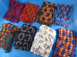 Plaid checker and bubble floral design winter muffler knitted scarves, ruffle bumpy bubble shawls. Double layers, 3D, textured, reversible, chunky, soft, thick, warm and cozy fringed scarves and wraps.