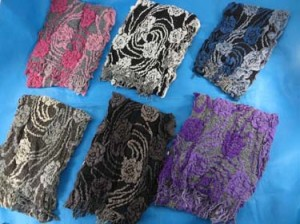 Artistic rose design winter muffler knitted scarves, ruffle bumpy bubble shawls. Double layers, 3D, textured, reversible, chunky, soft, thick, warm and cozy fringed scarves and wraps