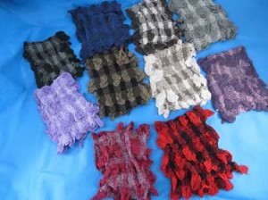 Bubble checker design winter muffler knitted scarves, ruffle bumpy bubble shawls. Single layer, 3D, soft, fringed, warm and cozy scarves and wraps