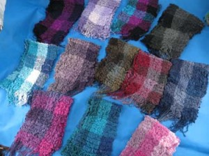 Multiple color blocks design winter muffler knitted scarves, ruffle bumpy bubble shawls. Single layer, 3D, soft, fringed, warm and cozy scarves and wraps