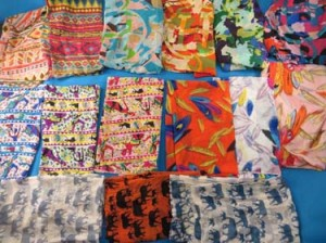 Mixed designs chiffon scarves. Exotic colors, primitive designs, feather, horse elephant wild animal prints. Soft, silky, half see through, stylish, beautiful colors, trendy designs, light and comfortable to wear. Can be used as a scarf or a hip wrap mini skirt beach cover-up