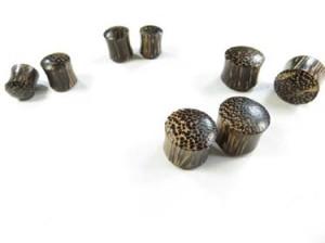 Coconut wood organic jewelry plugs, wooden earlets plugs