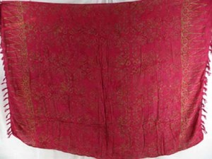fuchsia red Balinese batik sarong with small circle swirls