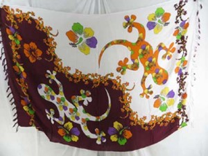 yingyang brown and white gecko and flower sarong