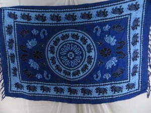 blue sarong with luckly elepant Indian mandala