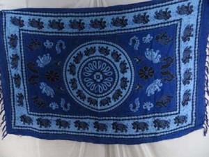 blue sarong with luckly elepant Indian mandala