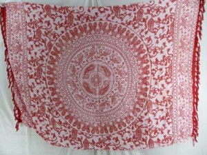 red and white elepant sarong with mandala on center