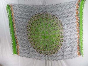 Bali tranditional sarong green and white paisley mandala